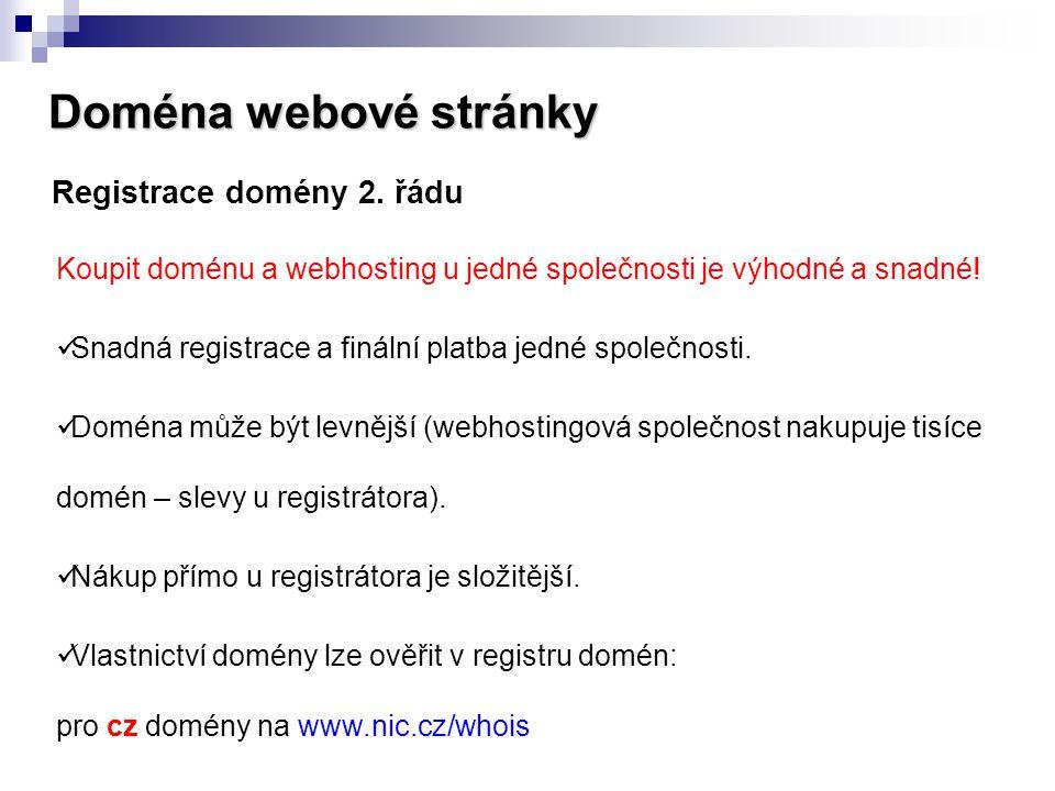 Doména webové stránky Registrace domény 2. řádu