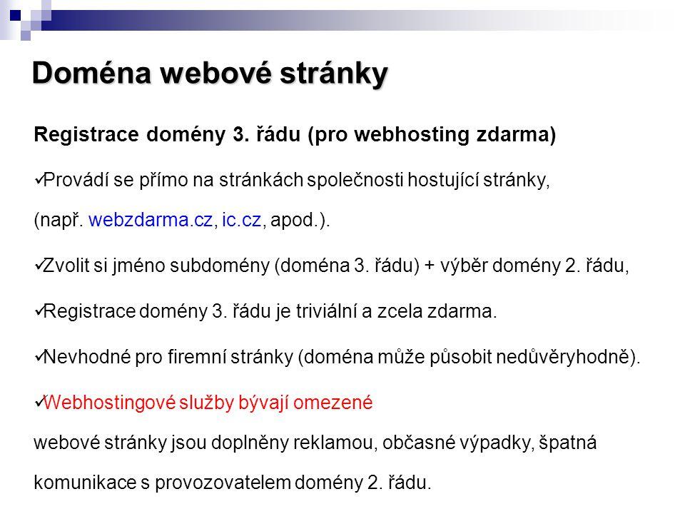 Doména webové stránky Registrace domény 3. řádu (pro webhosting zdarma)