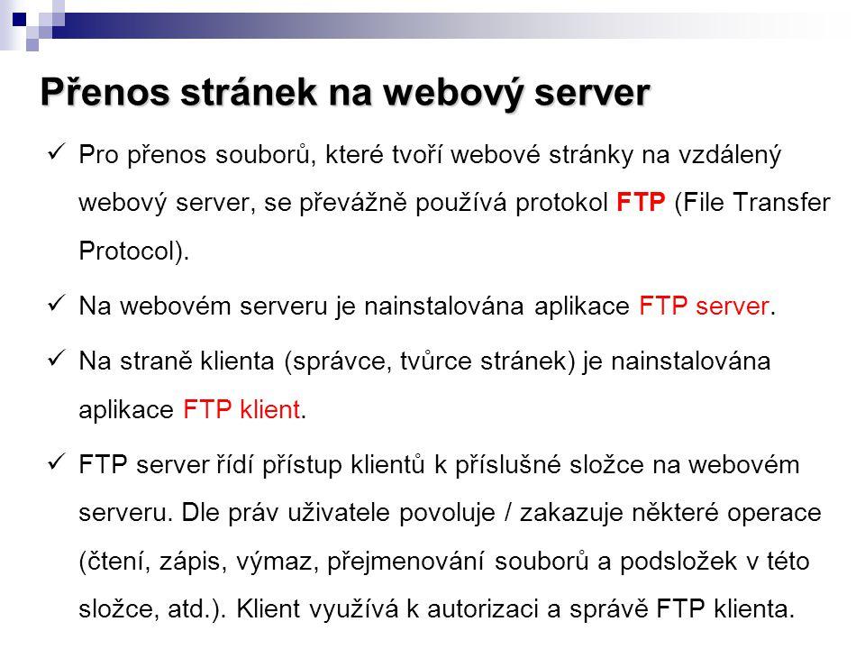 Přenos stránek na webový server
