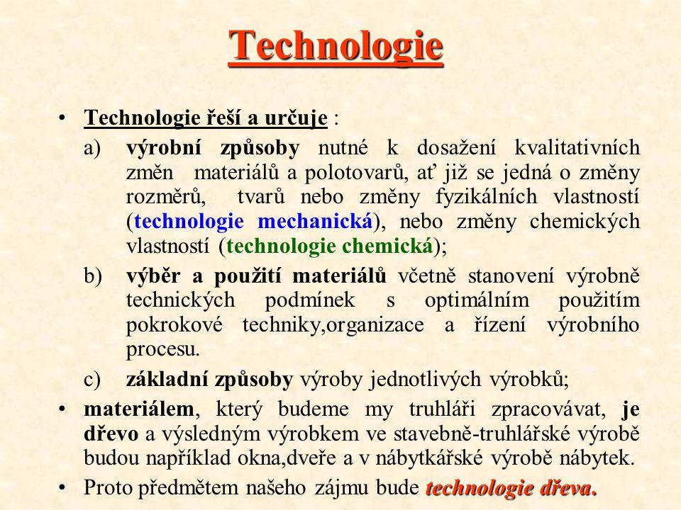 Technologie Technologie řeší a určuje :