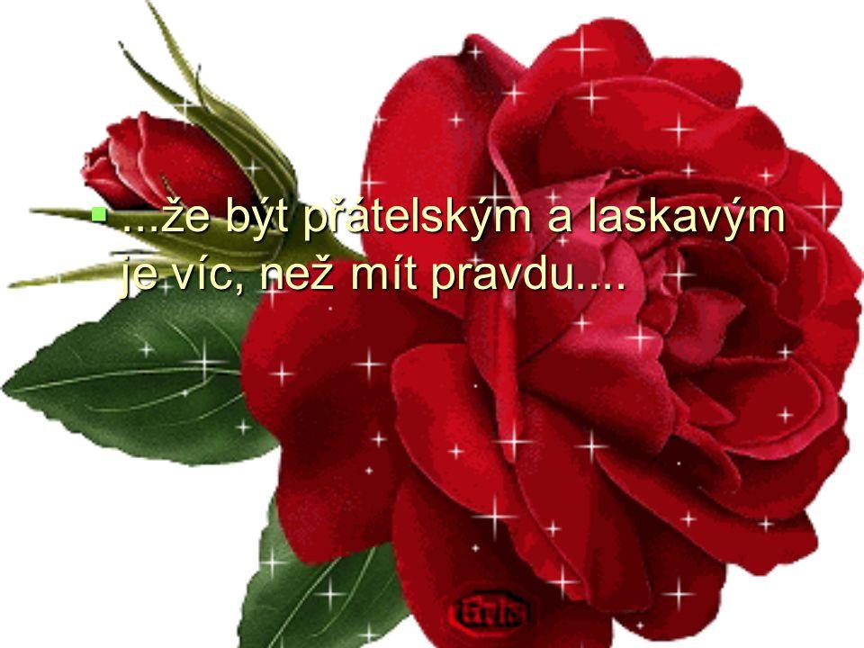...že být přátelským a laskavým je víc, než mít pravdu....