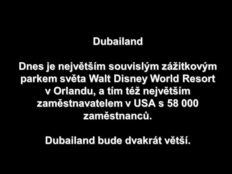 Dubailand Dnes je největším souvislým zážitkovým parkem světa Walt Disney World Resort v Orlandu, a tím též největším zaměstnavatelem v USA s 58 000 zaměstnanců.