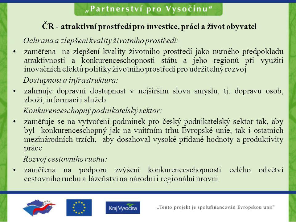 ČR - atraktivní prostředí pro investice, práci a život obyvatel