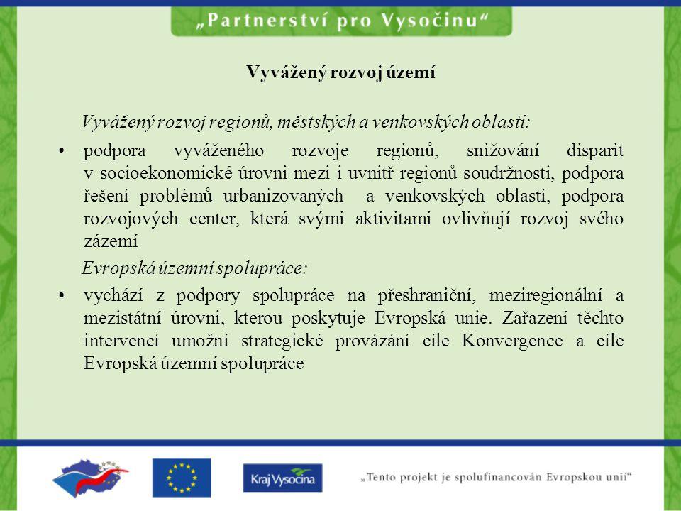 Vyvážený rozvoj regionů, městských a venkovských oblastí:
