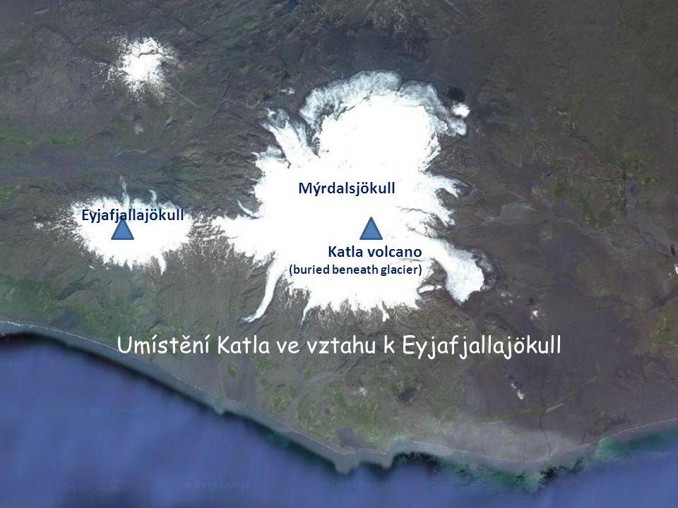Umístění Katla ve vztahu k Eyjafjallajökull