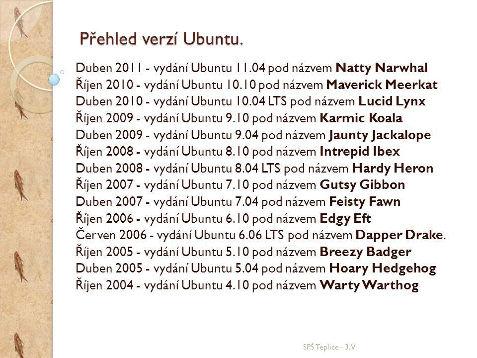 Přehled verzí Ubuntu. Duben 2011 - vydání Ubuntu 11.04 pod názvem Natty Narwhal. Říjen 2010 - vydání Ubuntu 10.10 pod názvem Maverick Meerkat.