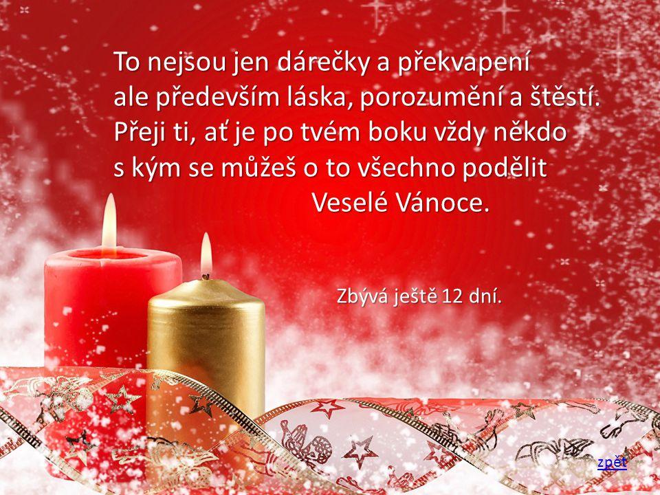 To nejsou jen dárečky a překvapení ale především láska, porozumění a štěstí. Přeji ti, ať je po tvém boku vždy někdo s kým se můžeš o to všechno podělit Veselé Vánoce.