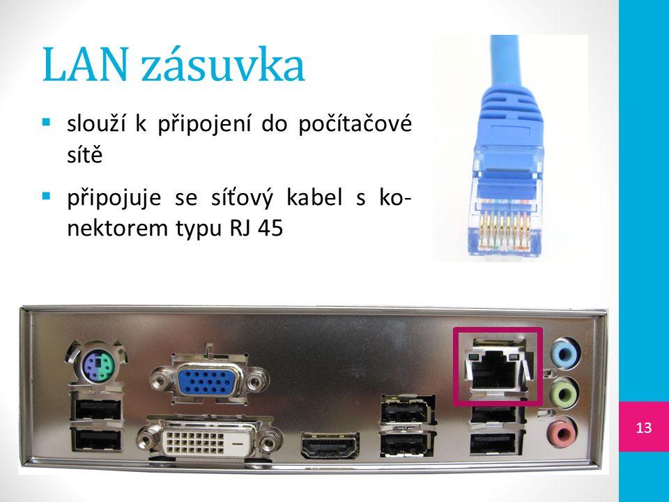 LAN zásuvka slouží k připojení do počítačové sítě