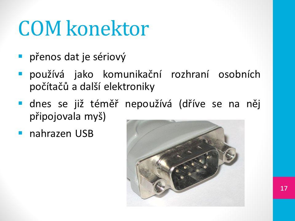 COM konektor přenos dat je sériový