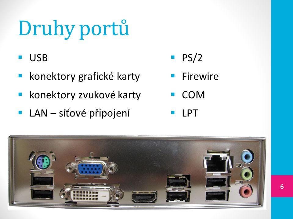 Druhy portů USB konektory grafické karty konektory zvukové karty