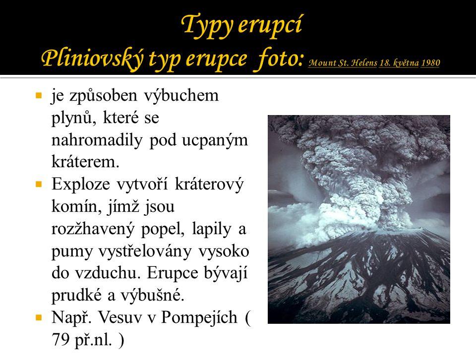 Typy erupcí Pliniovský typ erupce foto: Mount St. Helens 18