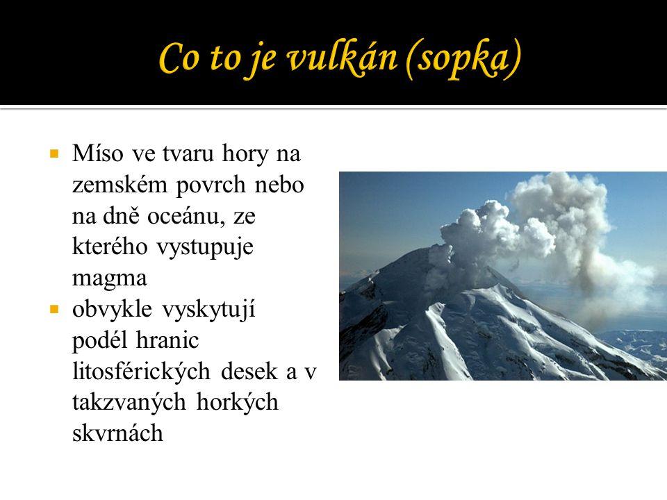 Co to je vulkán (sopka) Míso ve tvaru hory na zemském povrch nebo na dně oceánu, ze kterého vystupuje magma.