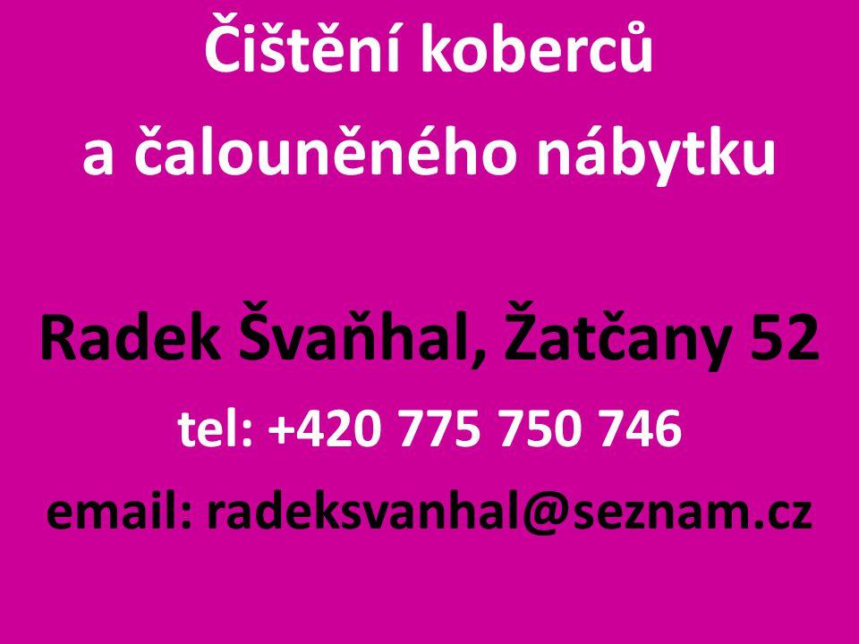 Čištění koberců a čalouněného nábytku Radek Švaňhal, Žatčany 52