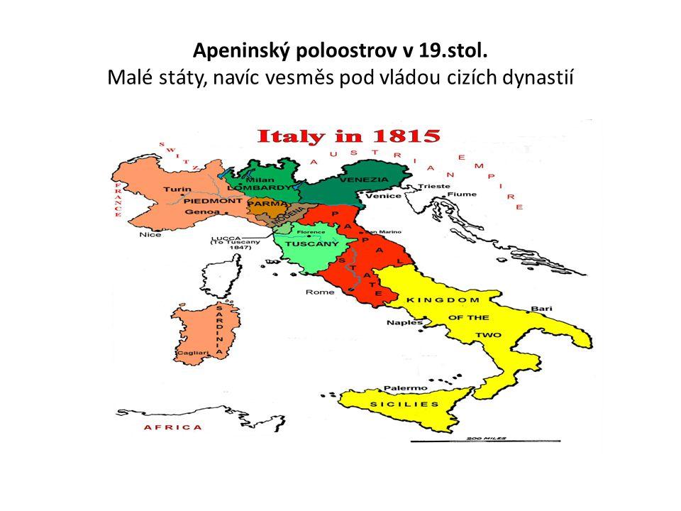 Apeninský poloostrov v 19. stol