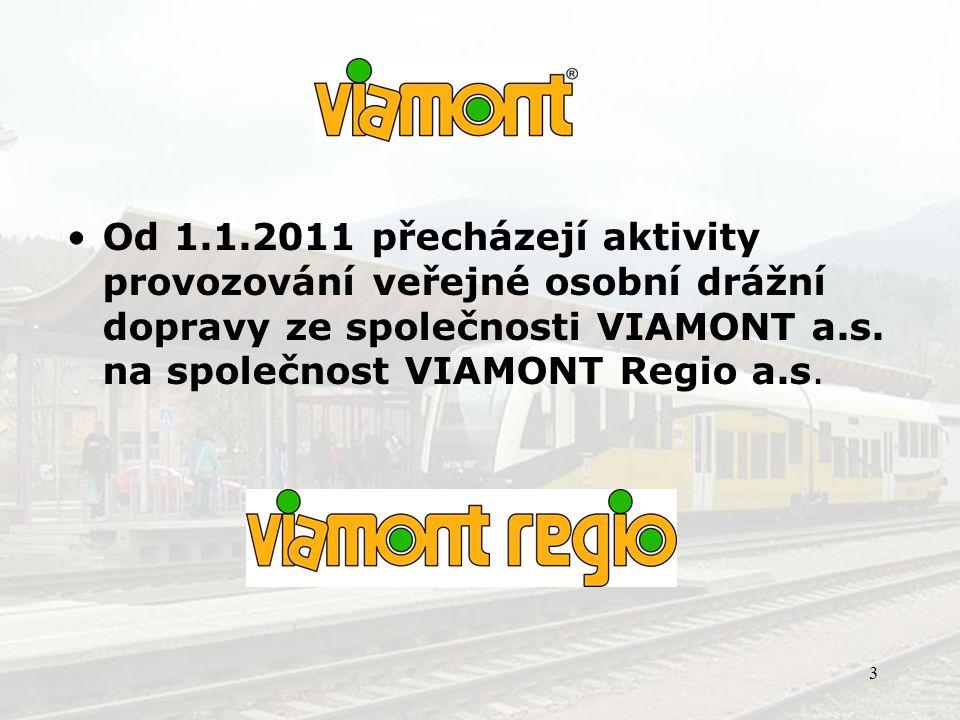 Od 1.1.2011 přecházejí aktivity provozování veřejné osobní drážní dopravy ze společnosti VIAMONT a.s.