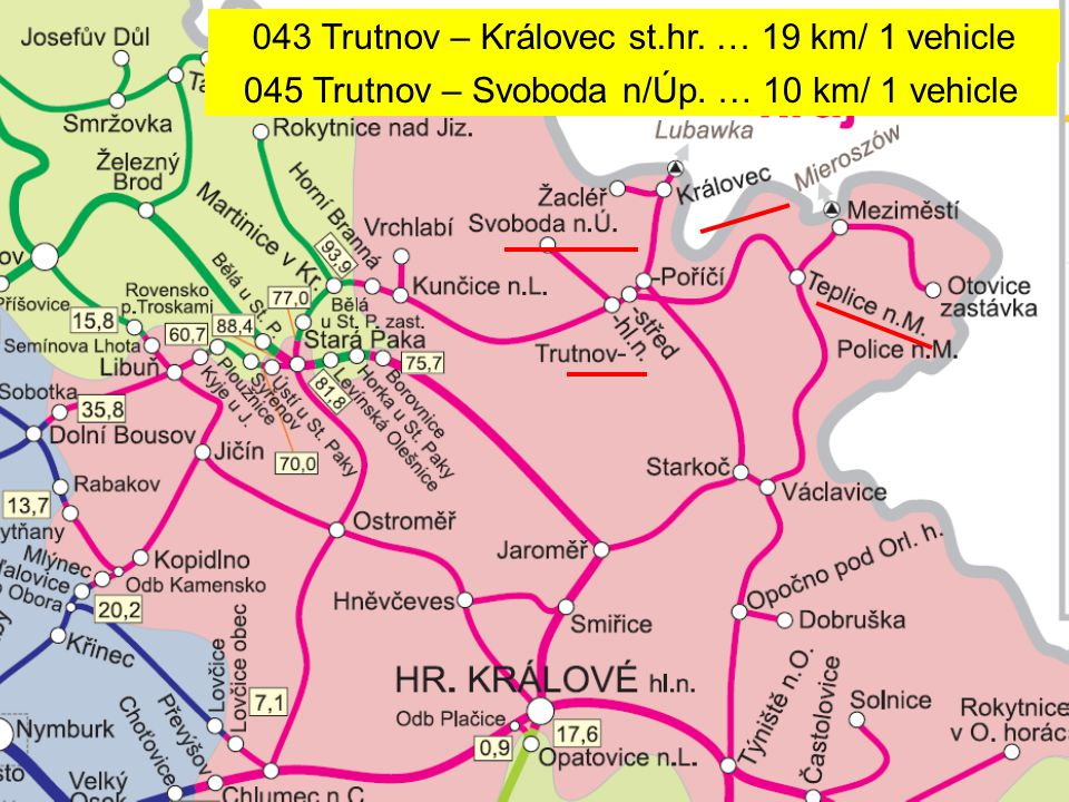043 Trutnov – Královec st.hr. … 19 km/ 1 vehicle