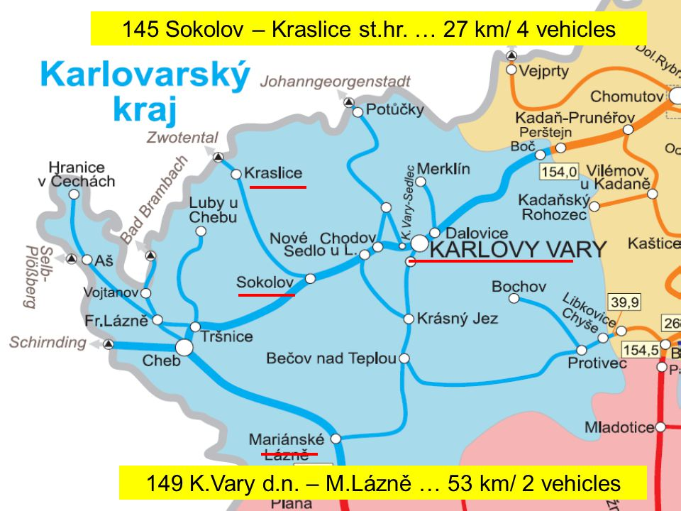 145 Sokolov – Kraslice st.hr. … 27 km/ 4 vehicles