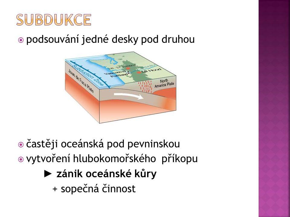 subdukce podsouvání jedné desky pod druhou