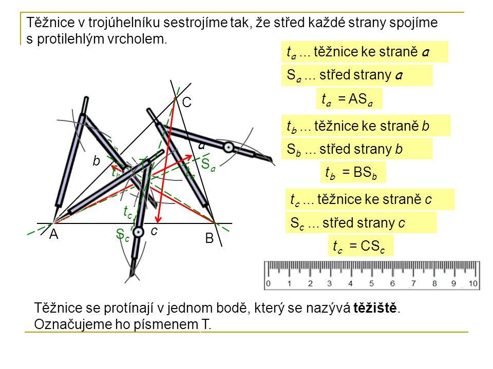 Těžnice v trojúhelníku sestrojíme tak, že střed každé strany spojíme s protilehlým vrcholem.