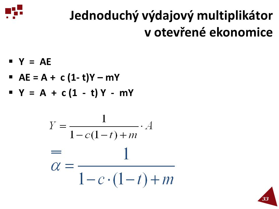 Jednoduchý výdajový multiplikátor v otevřené ekonomice