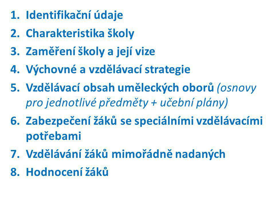 Identifikační údaje Charakteristika školy. Zaměření školy a její vize. Výchovné a vzdělávací strategie.