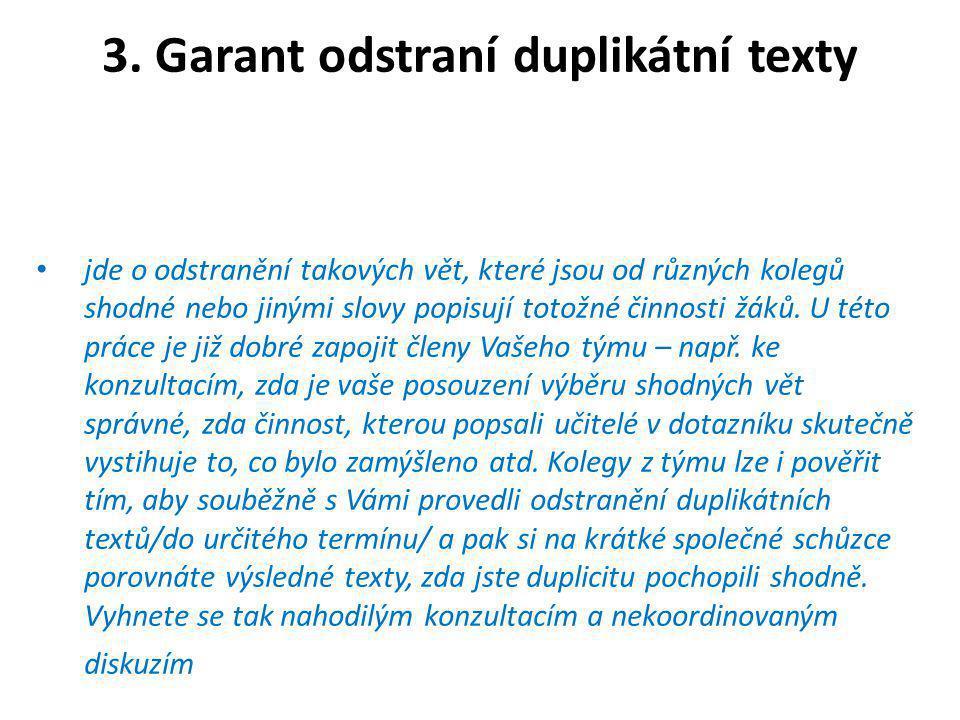 3. Garant odstraní duplikátní texty