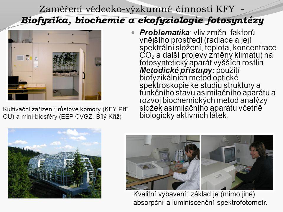 Zaměření vědecko-výzkumné činnosti KFY - Biofyzika, biochemie a ekofyziologie fotosyntézy