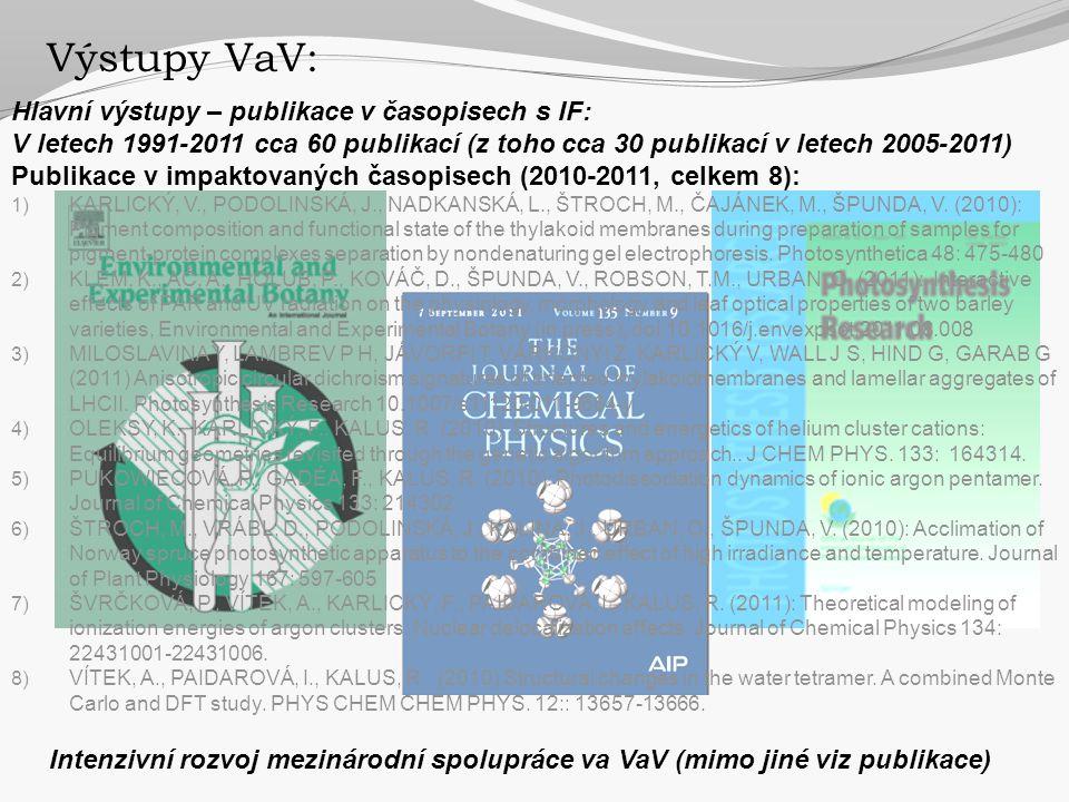 Výstupy VaV: Hlavní výstupy – publikace v časopisech s IF: