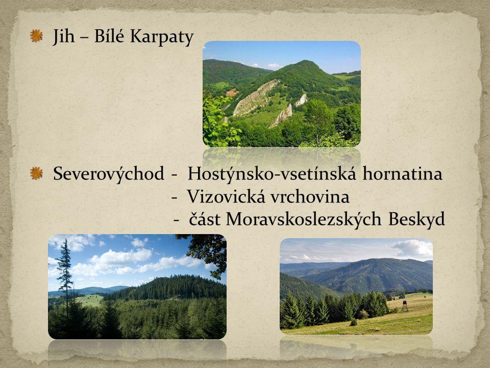 Jih – Bílé Karpaty Severovýchod - Hostýnsko-vsetínská hornatina.