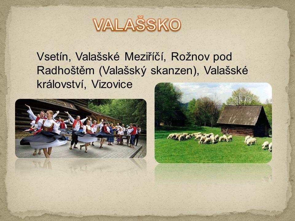 VALAŠSKO Vsetín, Valašské Meziříčí, Rožnov pod Radhoštěm (Valašský skanzen), Valašské království, Vizovice.