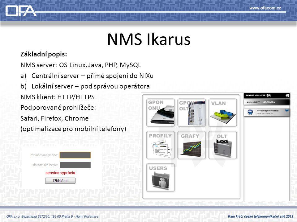 NMS Ikarus Základní popis: NMS server: OS Linux, Java, PHP, MySQL
