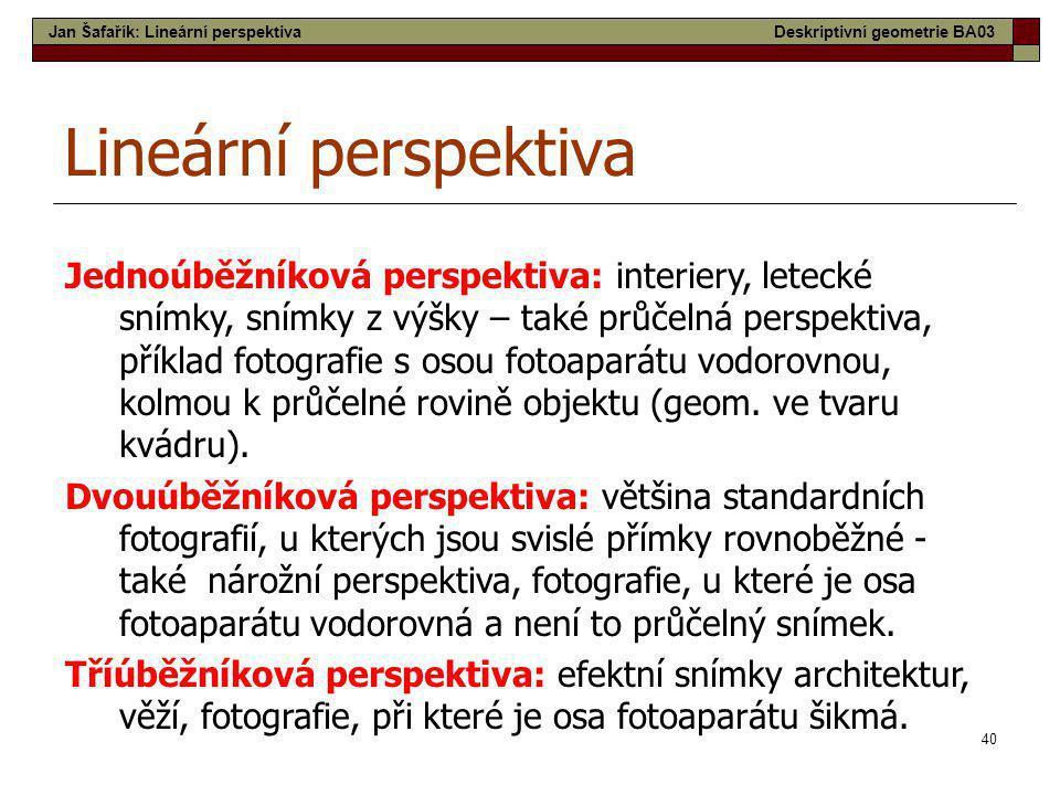 Jan Šafařík: Lineární perspektiva