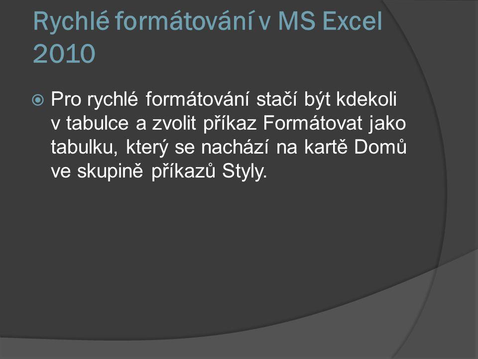 Rychlé formátování v MS Excel 2010