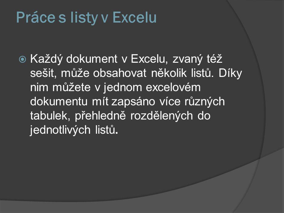 Práce s listy v Excelu