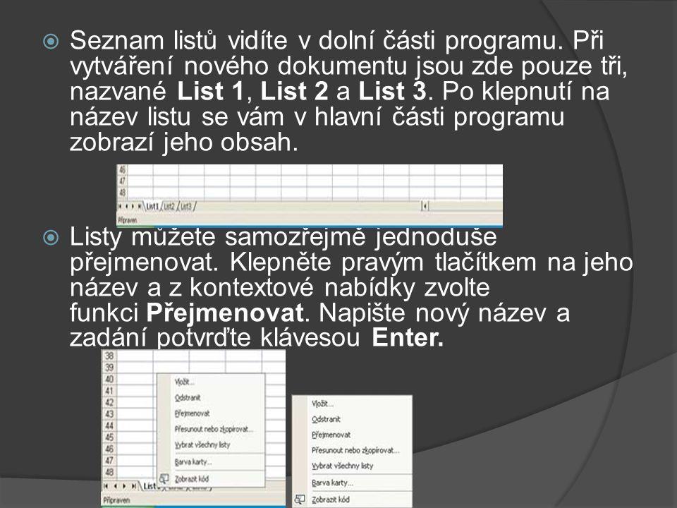 Seznam listů vidíte v dolní části programu