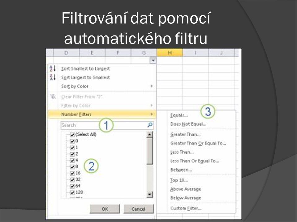 Filtrování dat pomocí automatického filtru