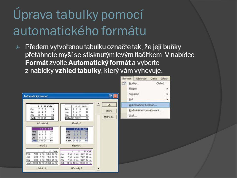 Úprava tabulky pomocí automatického formátu