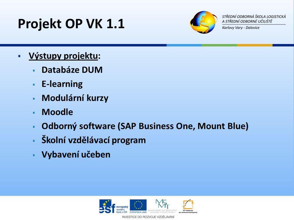 Projekt OP VK 1.1 Výstupy projektu: Databáze DUM E-learning