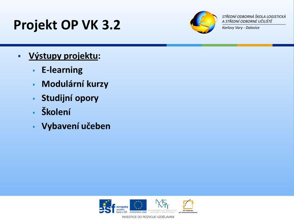 Projekt OP VK 3.2 Výstupy projektu: E-learning Modulární kurzy