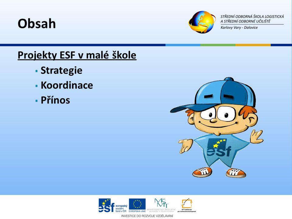 Obsah Projekty ESF v malé škole Strategie Koordinace Přínos