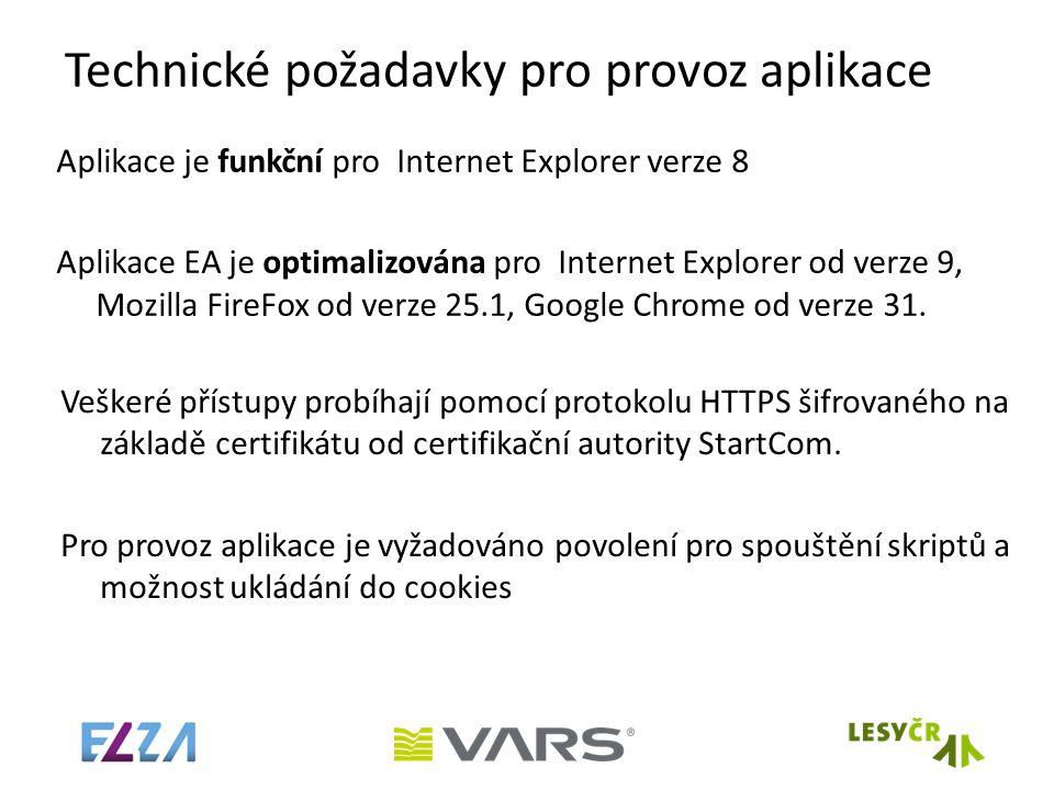 Technické požadavky pro provoz aplikace