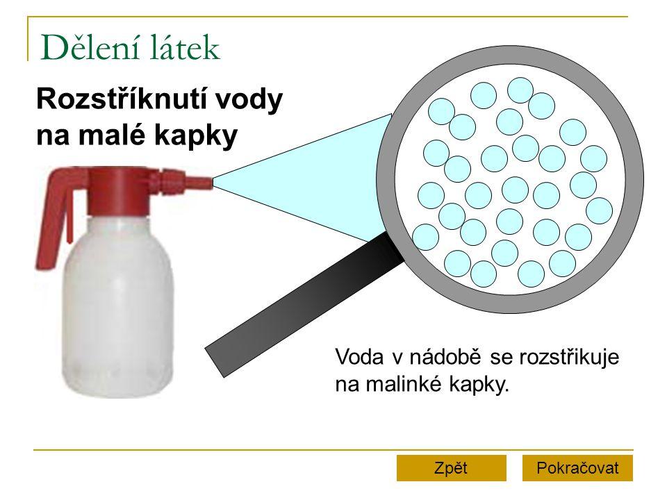 Dělení látek Rozstříknutí vody na malé kapky