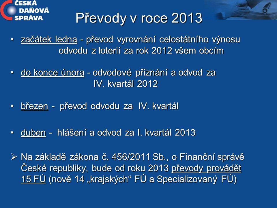 Převody v roce 2013 začátek ledna - převod vyrovnání celostátního výnosu odvodu z loterií za rok 2012 všem obcím.
