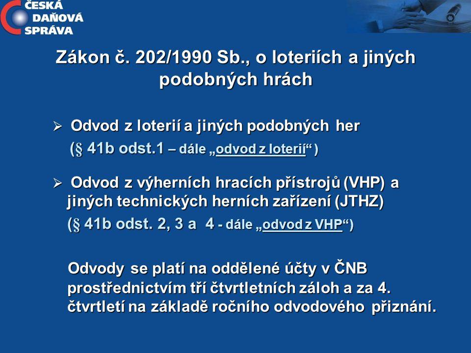 Zákon č. 202/1990 Sb., o loteriích a jiných podobných hrách