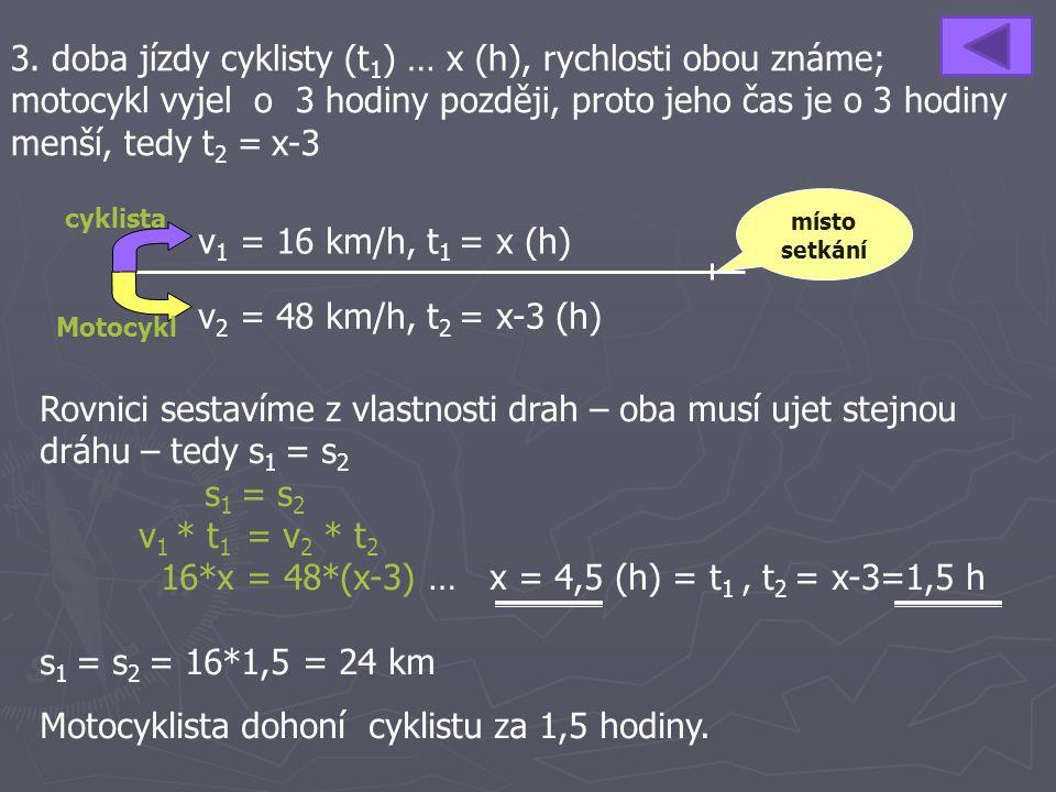 16*x = 48*(x-3) … x = 4,5 (h) = t1 , t2 = x-3=1,5 h