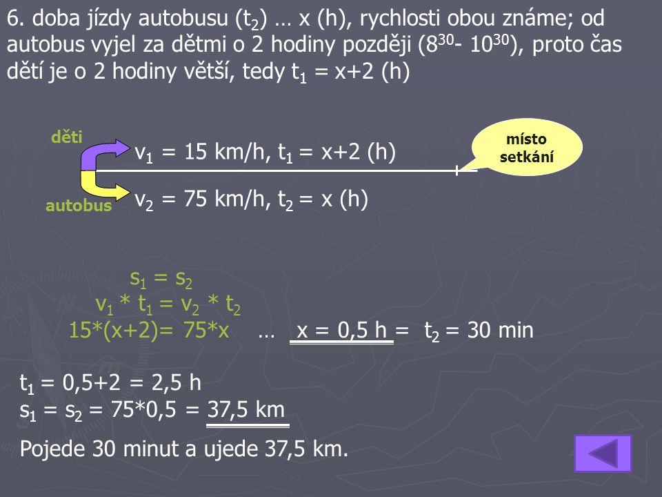 6. doba jízdy autobusu (t2) … x (h), rychlosti obou známe; od autobus vyjel za dětmi o 2 hodiny později (830- 1030), proto čas dětí je o 2 hodiny větší, tedy t1 = x+2 (h)
