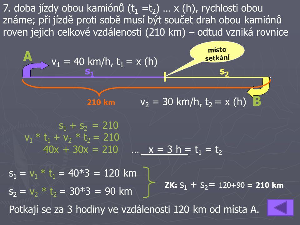 7. doba jízdy obou kamiónů (t1 =t2) … x (h), rychlosti obou známe; při jízdě proti sobě musí být součet drah obou kamiónů roven jejich celkové vzdálenosti (210 km) – odtud vzniká rovnice