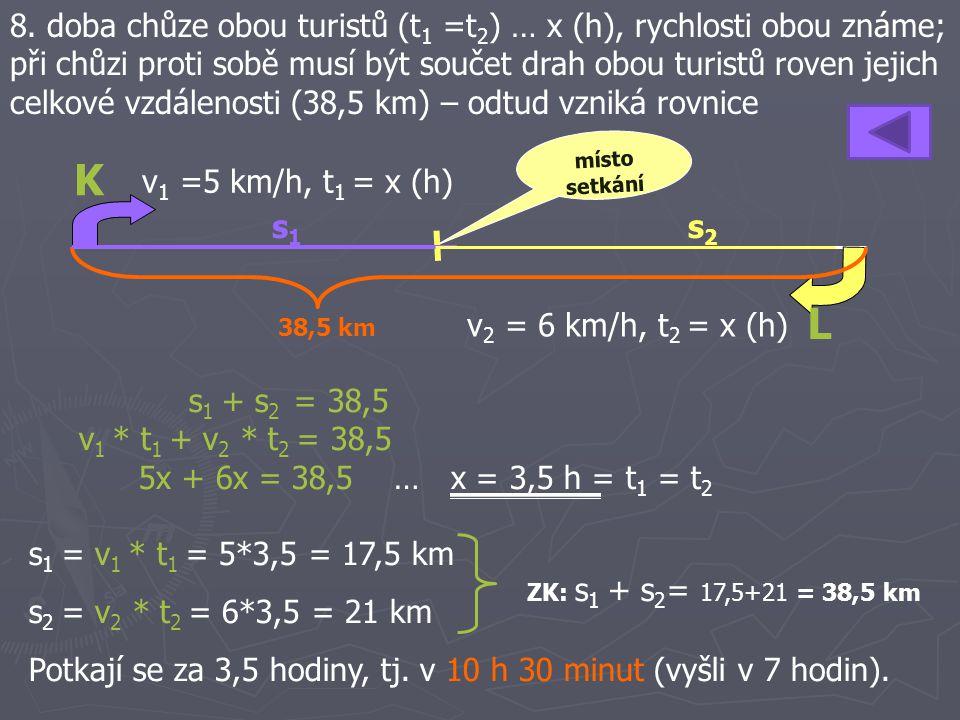 8. doba chůze obou turistů (t1 =t2) … x (h), rychlosti obou známe; při chůzi proti sobě musí být součet drah obou turistů roven jejich celkové vzdálenosti (38,5 km) – odtud vzniká rovnice