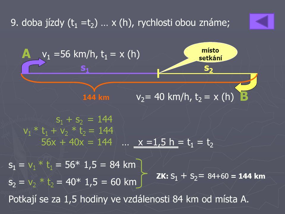 A B 9. doba jízdy (t1 =t2) … x (h), rychlosti obou známe;