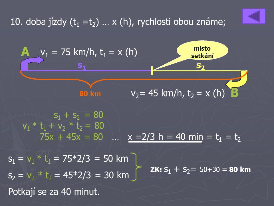 A B 10. doba jízdy (t1 =t2) … x (h), rychlosti obou známe;